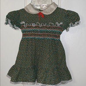 Vtg Nanette smocked waist green dress